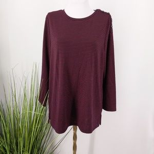 Loft over sized top long sleeve button neckline nw